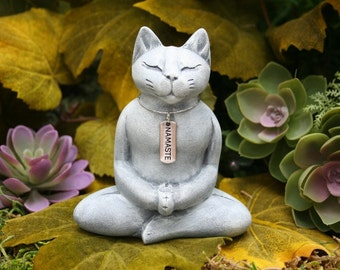 Buddha Cat - Meditating Zen Cat Statue with Namaste Necklace - Concrete Garden Art