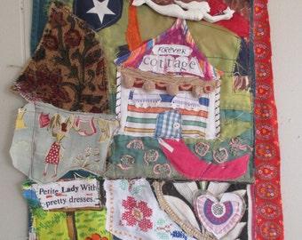 FOREVER COTTAGE - Vintage  Fabric Collage Assemblage - Altered Art Quilt - Recycled Linens Antique Materials // mybonny random scraps
