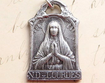 Our Lady of Lourdes Virgin Mary Medal -Patron of the sick- Antique Reproduction