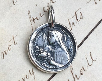 Small St Therese of Lisieux Wax Seal Pendant