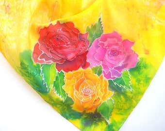 Roses Original Silk Scarf Handpainted in Kauai Hawaii Silk Scarves Birthday Gift Wearable Art Pink Orange