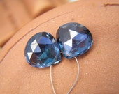 London Blue Topaz Faceted Hearts - Pair - 10mm