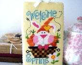 Completed Cross Stitch, Easter Needlework, Handstitched Cross Stitch, Welcome Spring