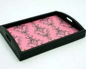 Dollhouse Miniature Serving Tray, Pink and Black, 1/12th Scale