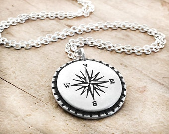 Compass Necklace, graduation gift, compass jewelry, retirement gift, going away present, compass rose jewelry, sterling silver travel wander