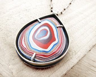 Fordite jewelry, fordite necklace, gift for her, gift for wife, girlfriend gift, Detroit Agate necklace, statement necklace