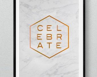 Celebrate Marble Copper Foil Art Print
