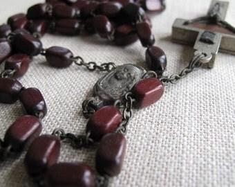 Vintage ROMA ITALY Terra Catacombe Relic Reliquary Crucifix Rosary Spina Christi