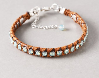 Crystal Leather Bracelet, Pacific Opal Sterling Bracelet, Leather bracelet, Everyday, Casual