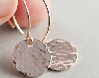 Hammered Disc Earrings, Long Rose Gold Earrings, Textured Coin Earrings