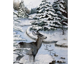 INSTANT DOWNLOAD 4x6 PRINT Whitetail Deer Watercolor