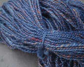 Hand Dyed Wensleydale Cross  Aran Weight Sweater Yarn  Heathered Indigo Blue