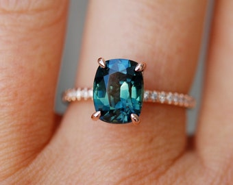 custom-Peacock sapphire engagement ring. 3ct cushion cut diamond  ring 14k Rose gold ring by Eidelprecious.