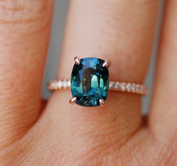 Peacock sapphire engagement ring. 3ct oval cut diamond  ring 14k Rose gold ring by Eidelprecious.