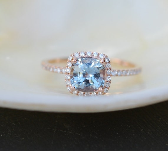 Rose Gold Engagement ring. Blue Green Sapphire ring. 1.7ct cushion sapphire 14k RG diamond ring.