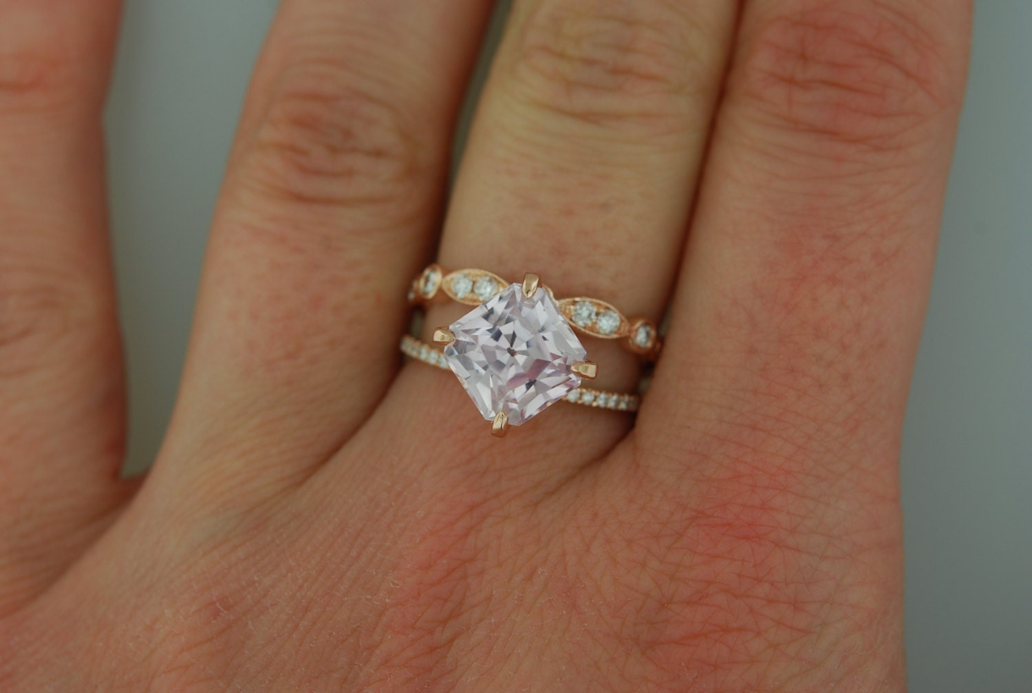 Square engagement ring Emerald cut engagement by EidelPrecious