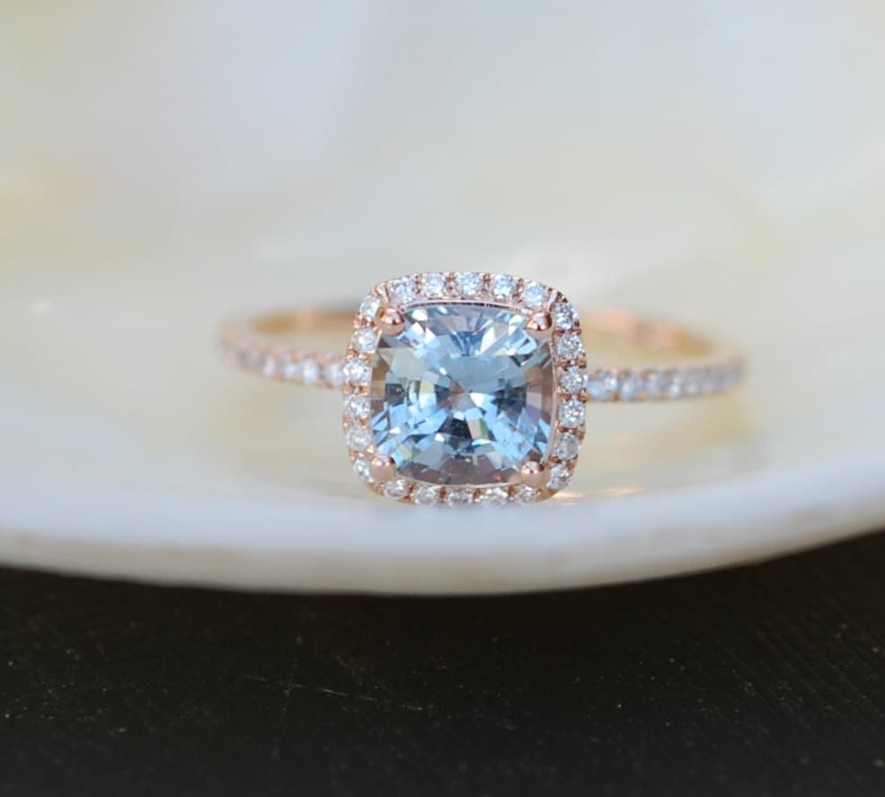 rose gold engagement ring blue green sapphire ring 17ct cushion sapphire 14k rg diamond ring