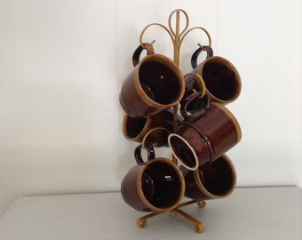 Brown Retro Kitchen 1970's Stacking Mugs with wire stand Original set of six