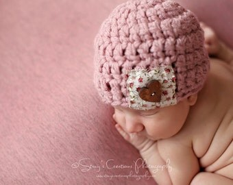 Newborn Girl Beanie, Girl Baby Hat, Baby Coming Home Hat, Baby Hat with Heart Button, Crochet Infant Hat, Pink Girl Beanie