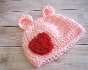 Baby Girl Hat, Baby Valentine Hat, Newborn Girl Hat, Valentine Kids, Beanie, Girl Infant Hat, Pink Baby Hat, Baby Bear Hat, Hat with Hearts