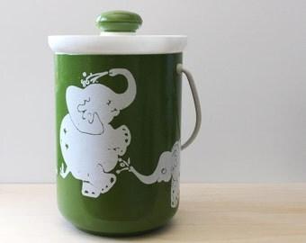 Dancing Elephants. Vintage Kromex ice bucket.