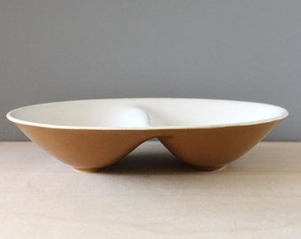 Mikasa Cerastone divided bowl, 1970s stoneware serving.