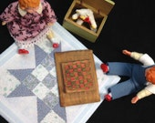 Tiny quilt shabby country dollhouse scale