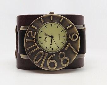 SALE...Steampunk watch. leather cuff watch. Biker watch. Men watch. Quartz watch.