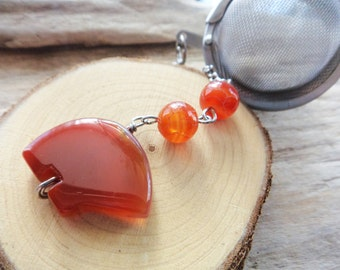 Bear Tea Strainer- Gemstone Zuni Bear Gemstone Tea Ball- Mesh Tea Infuser Carnelian Orange