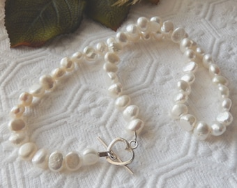 SALE.....One of a Kind .925 Sterling Silver and Baroque Freshwater Pearl Necklace