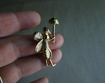 Bee With Umbrella Brooch