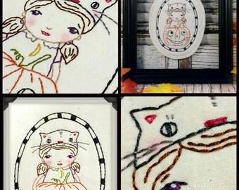 Halloween TOO Cute embroidery Pattern PDF - hoop pumpkin cat hat vintage like