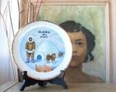Vintage Souvenir Alaska Plate Inuit Sled Dogs Igloo