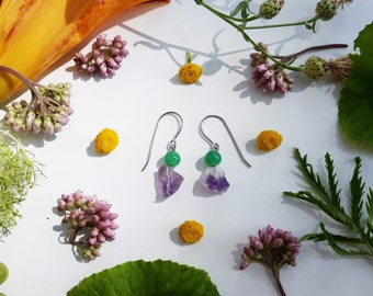 Raw Amethyst and Light Green Glass