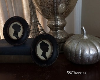 Jane Austen Style Silhouettes Framed in Oval Black Antiqued Frames on Vintage Paper - Shabby Chic Decor Ladies