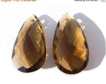55% OFF SALE 1 Pair AAA Beer Quartz Faceted Elongated Pear Briolettes Large 28x15mm Approx