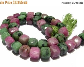55% OFF SALE 8 Inches - Ruby Zoisite Faceted 3D Cubes Briolette Size 7.5 -8mm approx, Natural Stone Finest Quality Wholesale Price