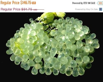 55% OFF SALE Full 8 Inches Untreated Natural Prehnite Micro Faceted Teardrop Briolettes Size 9x6 - 10x7mm approx