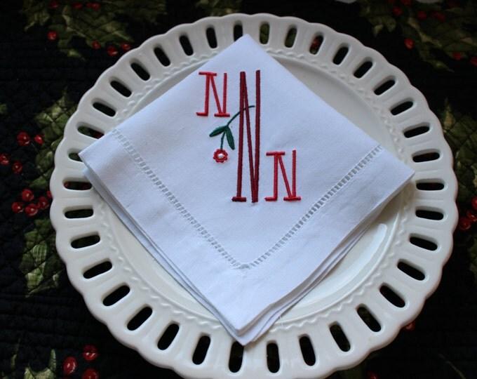 Set of 8 Monogrammed Luncheon Napkins Hemstitched Linen