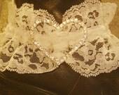 Boot garter white lace heart rhinestones