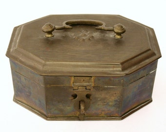 Vintage Brass Jewelry Box with Removable Inner Tray