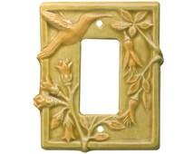 Hummingbird Ceramic  Single Rocker Light Switch Cover in apricot gold glaze