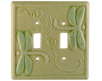Ceramic Light Switch Cover- Dragonflies Double Toggle in Cream Moss Glaze