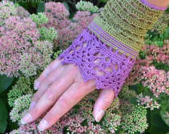 Lace crochet wristies, wristlets, cotton, P477