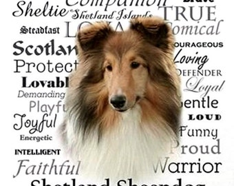 """SHELTIE (Shetland Sheepdog) Sable with Characteristics on ONE 16 inch Square Fabric Panel for Quilting and Sewing.Actual picture is 8"""" x 10"""""""