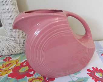 Pink Fiesta Ware Pitcher - Large Disc Style - Vintage Homer Laughlin - Shabby Summer Cottage