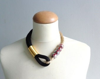 Black gold red statement necklace