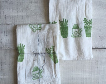 Block Printed Cotton Kitchen Tea Towel - Triangle Shapes Abstract Succulents Black