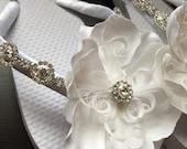 Julie Bridal Flip Flops - Custom Flip Flops - Dancing Shoes - Rhinestone Bridal Sandals - Wedding Flip Flops - Beach Wedding Shoes