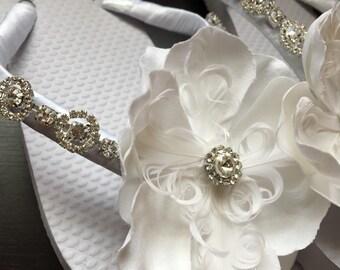 Brianna Bridal Flip Flops, Custom Flip Flops, Floral Bling Dancing Shoes, Rhinestone Bridal Sandals, Wedding Flip Flops, Beach Wedding Shoes